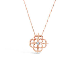 Iconic Signature Diamond Charm Pendant in 18k Rose Gold by Leah Van Meyer