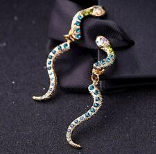 New Betsey Johnson Fashion gold Alloy Rhinestone snake drop earrings Jewelry