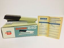 New listing Vtg Mid Century Bates 640 Custom Stapler Woodgrain Tan Body W/ Box Instructions