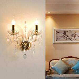 2 Lights Wall Lamp Crystal Effect Wall Light Design In The Shape Of A Candle