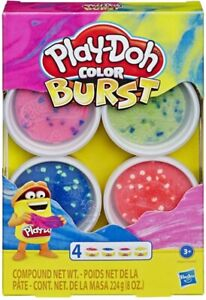 Hasbro Play-Doh Color Burst Modeling Clay Set of 4 (Bright Colour Set) FREE POST
