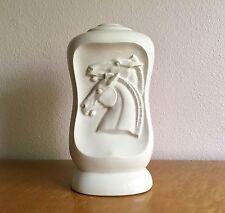 Vintage White Ceramic Art Deco Lamp Base, Neo-Classical Horse Head Motif, 1930s
