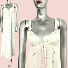 White Vintage Long Nightdress Broderie Anglaise Maxi Saxon Lingerie 60s 70s   8