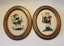 Vtg Hummel Needlepoint Tapestry Girl & Boy Wooden Wall Hanging
