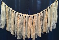 WInter wedding rag tie lace garland table skirt phot prop