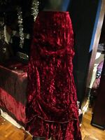 Antique Vintage Burgundy Long Crushed Silk Velvet Long Bussled Skirt