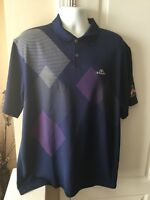 Nike Golf Tour Performance Dri-Fit Blue Geometric Polo Shirt Mens XL