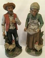 Vintage Homco Farmhouse Old Farmers Gathering Eggs Chickens Porcelain 1434