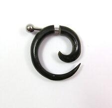 eine Spirale Fake Piercing Earring Schnecke schwarz Horn Metallstift ca 1mm NEU!