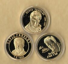 3~ Elvis Presley 1935 - 1977 Gold Collector Coin The King Of Rock Music