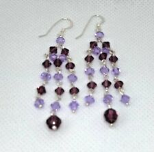 Earings Silver 925 Lilac & Purple Glass Beads Hook 3 Row Drop Chain NEW Gift
