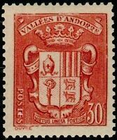 "ANDORRE FRANCAIS TIMBRE N° 54 "" ARMOIRIES DES VALLEES 30 C. ROUGE "" NEUF xx TTB"