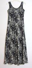 Karen Kane Maxi Dress sz M Floral Mesh Tank Beach Stretch Abstract Gray Black