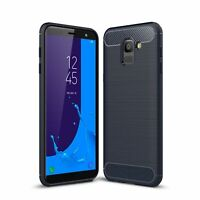 Samsung Galaxy J6 Case Carbon Fiber Look Brushed Case Cover Bumper Bla