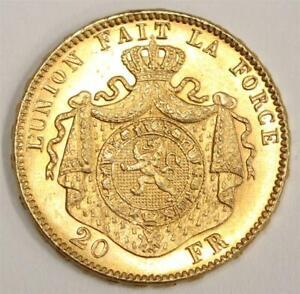 Belgium 1882 20 Francs Gold coin Choice Uncirculated