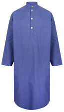 Somax Men's Luxury Cotton Nightshirt - Blue Polka Dot Pattern (sizes available)