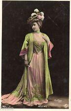 BE691 Carte Photo vintage card RPPC Femme woman Félyne dress mode fashion robe