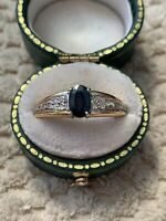 Antique Vintage 18ct Gold Sapphire & Diamond Ring With Box