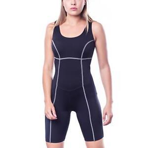 Aquarti Damen Badeanzug mit Bein Schwimmanzug Knielang Schwarz