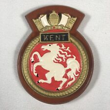 "HMS Kent Plaque On Wood 7.5""x 6"" Total WW2 Royal Navy Heavy Cruiser"