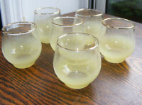 6 - Vintage Yellow Frosted Glasses