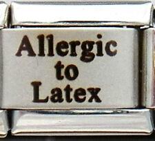 Allergic to Latex Laser Medical Alert for Italian Charm Bracelets Free Card