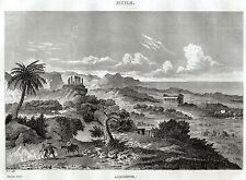 AGRIGENTO: Valle dei Templi. Girgenti.Sicilia.Sicily. ACCIAIO.Stampa Antica.1838