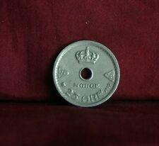 1929 Norway 25 Ore Copper Nickel World Coin Norge Scandinavian Crown Cross