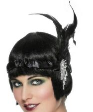 20s 1920s Charleston Flapper Headband & Feather Satin Fancy Dress Black New
