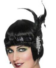 anni '20 ANNI '20 Charleston FASCIA Flapper & PIUMA RASO COSTUME neri NUOVI