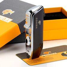 COHIBA 3 torch flame cigar lighter with cigar punch Black Chrome COB528