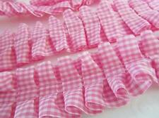 "6 yards Pleated Gingham Check Ruffle 1.5"" Trim/Lace/sewing/dress/White T117-Pink"