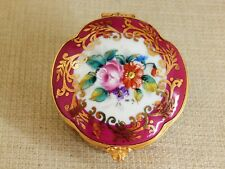Limoges Hinged Trinket Box, Round with Scallop Edges- Cranberry Red with Flowers