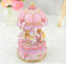 LED PINK house Carousel Music Box /MERRY-GO-ROUND Classic Music box