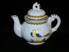 ITALIAN TEAPOT CANTAGALLI FIRENZE YELLOW & BLUE BIRD ON WHITE WITH BROWN 32 OZ.