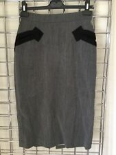 VINTAGE VIVIENNE WESTWOOD GREY BLACK PENCIL SKIRT UK 12 PIN UP BURLESQUE 1940s