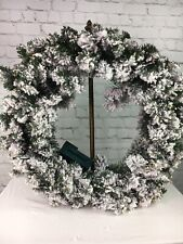"Bethlehem Lights 26"" Flocked Overlit Wreath Christmas Clear QVC Home Decor"