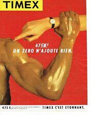 PUBLICITE ADVERTISING 0217  1984   montre quartz  homme Timex