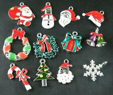 12pcs Mix Multi Color Enamel Alloy Christmas Charms Jewelry Finding U2-13