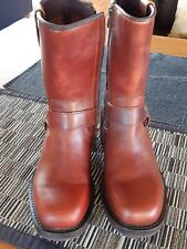 Fly London 38 Brown Boots LIKE NEW zipper mid calf small heel STRAP around ankle