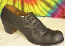 sz 7-7.5 vtg early 1900's black bump-toe button-up oxfords granny shoes booties
