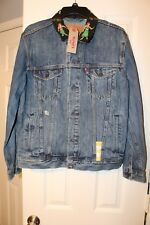 Levis Denim Trucker Jacket w/ Rare Hawaiian Hula Girl Collar Size XL