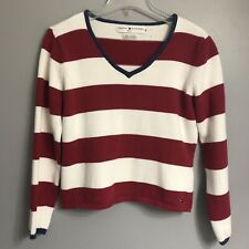 ae48484049 VTG 90s Tommy Hilfiger Jeans Striped Cropped Pullover Sweater Red White  Size Med