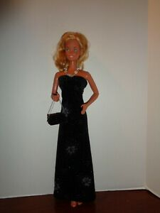 """PRETTY BLACK VELVET  DRESS  OUTFIT FOR 18"""" SUPER SIZE BARBIE DOLL- OUTFIT ONLY"""