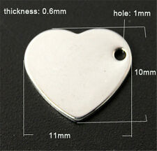 100pcs 304 Stainless Steel Blank Stamping Tag Heart Pendants Charms 11x10x0.6mm