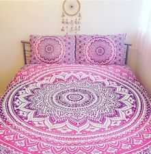 Indian Ombre Mandala Bed Sheet Bedding Tapestry Hippie Queen With 2 Pillow B2R