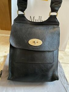 Genuine Mulberry Small Antony Anthony Messenger Crossbody Bag In Black &Dust Bag