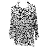 Soft Surrounding Blouse Top Black White Women's M Long Sleeve Rayon Button Front
