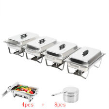 4 Pack Chafing Dish Sets Buffet Caterings Stainless Steel  W/Tray Folding Chafer