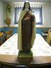 """33"""" Antique Statue St. Therese Lisieux Glass Eyes Catholic Plaster Traditional"""